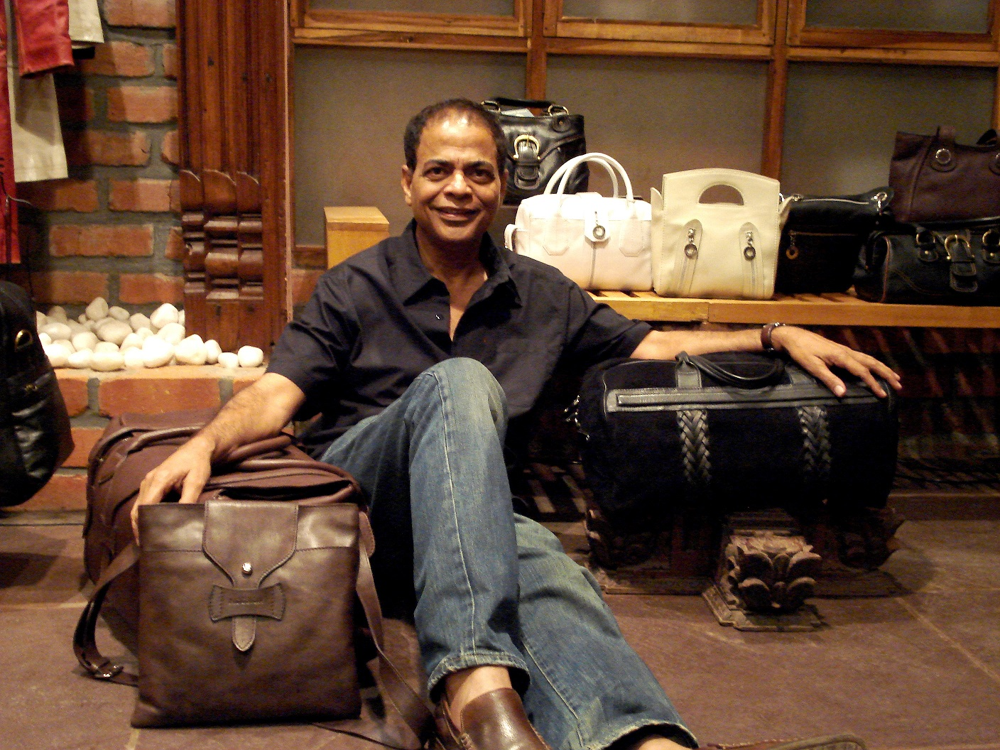 Dilip Kapur with his creations
