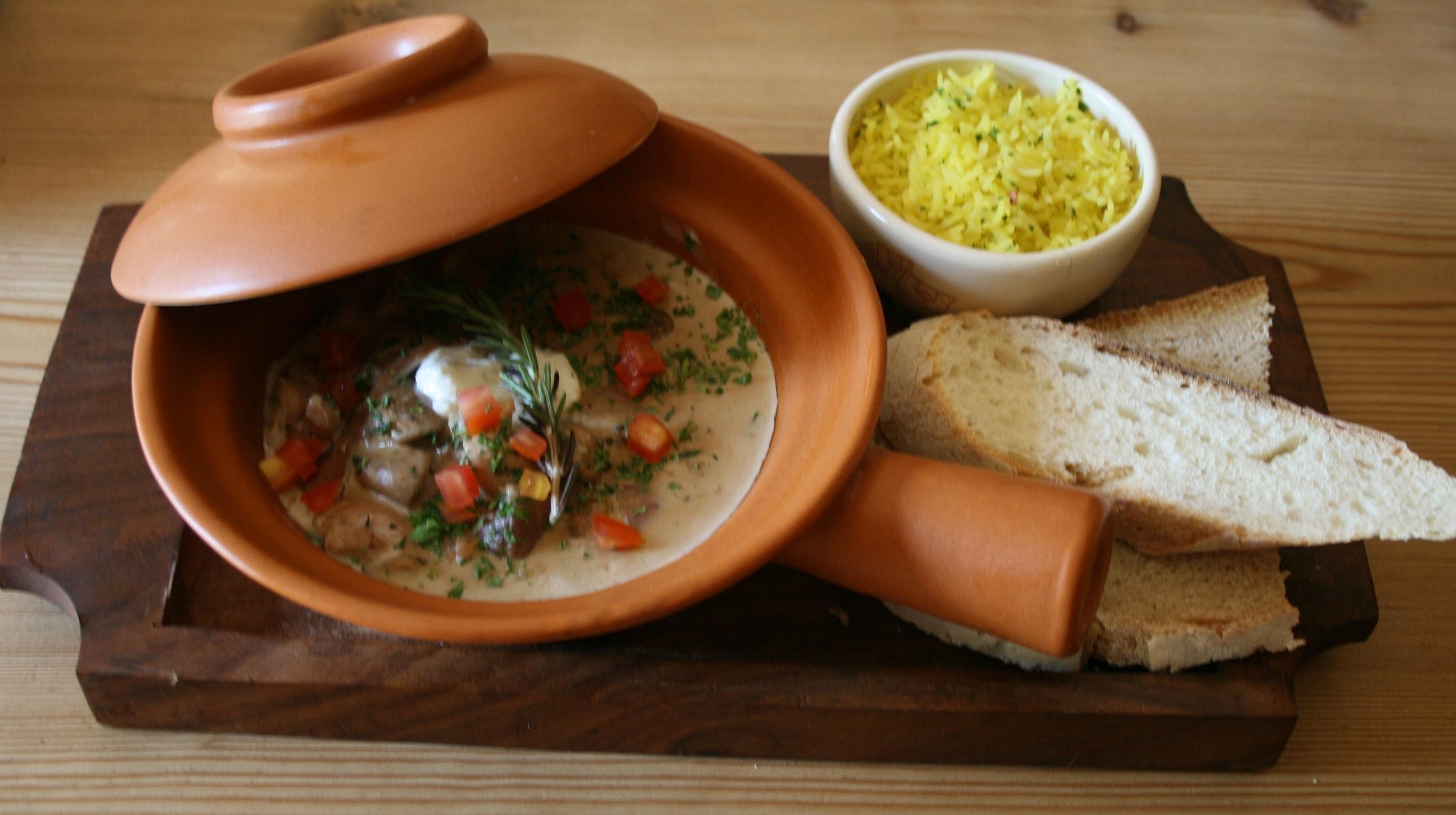 5 Vegetable stroganoff with saffron rice