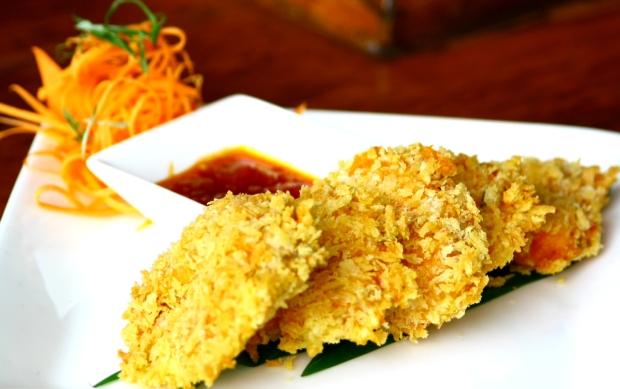 Panko crusted prawns rawa style