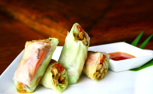 Xacuti masala grilled rice paper roll chicken