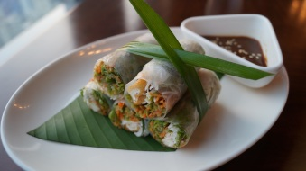Vietnamese seasonal vegetable spring roll with tofu seasonal greens and hoisin sauce at Mekong