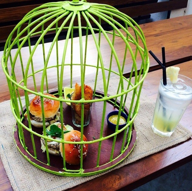 Veg Burger in a cage