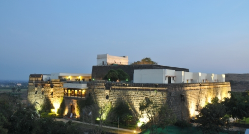 the fort lit up at night