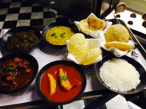 Maccher jhol, Kosha Mangsho (slow cooked mutton), Chicken curry, Cholar Dal, Rice and luchis
