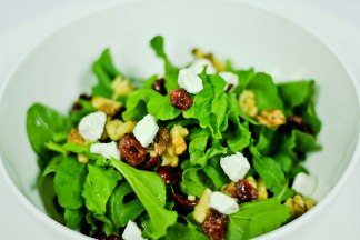 Cranberry & Chevre - rocket & walnut bits and cranberry parsley dressing at The White Owl