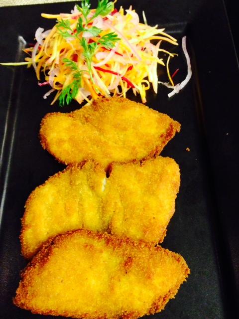 Bhaja Bhetki - mustard marinated crispy Bhetki fillet