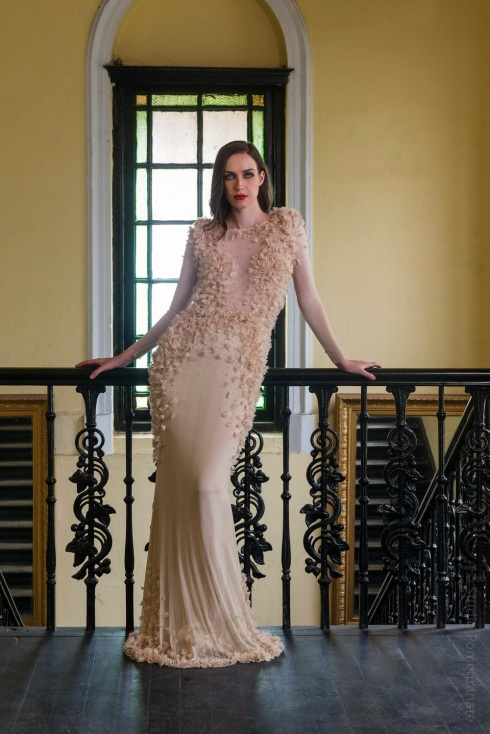 Vizyon's sheer rose gown with 3D flower detail