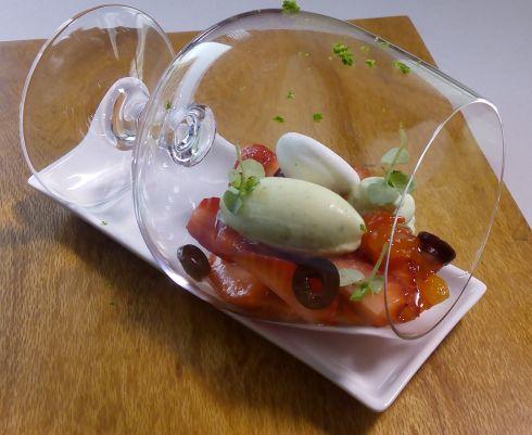 Strawberry, espuma kapao ( thai basil) sorbet rocket cream cheese