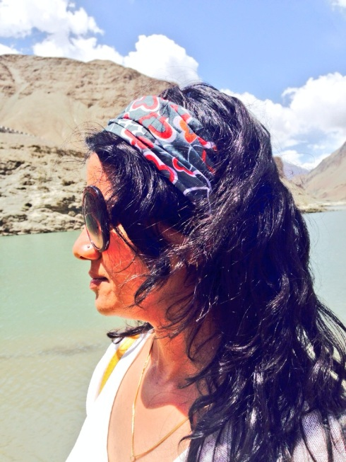 This printed heart head gear from Ayesha Accessories was practical enough to brave the strong winds and still be stylish