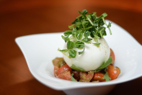 Creamy buffalo burrata cheese, tomato, sweet basil pesto