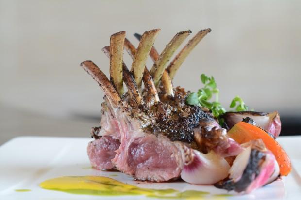Australian lamb rack, mashed potatoes, mixed greens