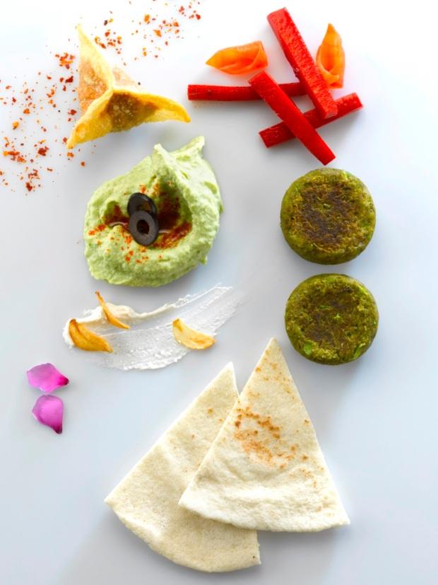 PA PA YA mezze platter, edamame hummus, wasabi chickpea falafel (low rez)