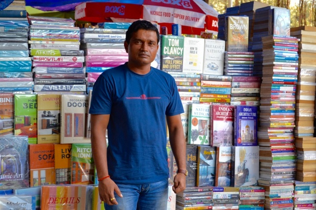 Low res Dilip Mahindkar at the booth on Book Street
