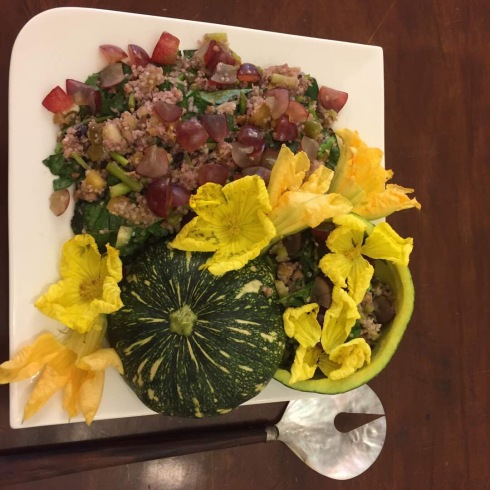 Ridge gourd and squash flowers in quinoa salad by varsha Singhania