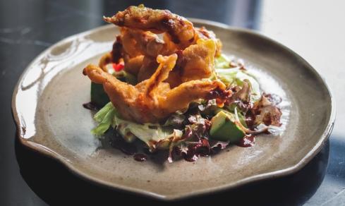 Soft shell crab tempura salad at Soi 69